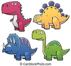 Dinosaurs - Illustration of Dinosaurs cartoon characters