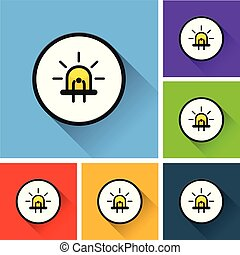 diode icons with long shadow - Illustration of diode icons...