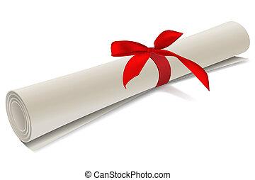 diploma degree - illustration of diploma degree on white...