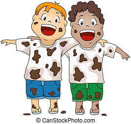 Illustration of Dirty Kids Smiling Happily