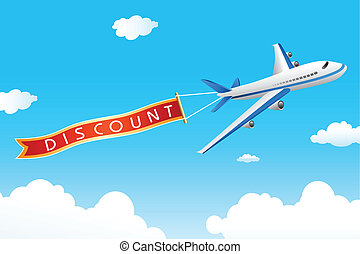 discount tag with plane