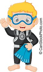 diver boy cartoon - illustration of diver boy cartoon