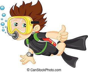 diver boy thumb up - illustration of diver boy thumb up