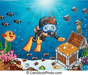 Illustration of diver under the sea - Vector illustration of...