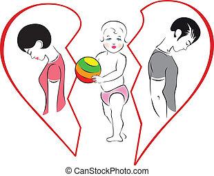 Illustration of divorce in the family, the gap between men...