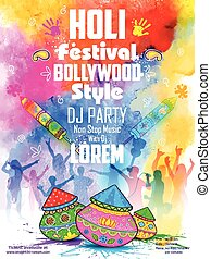DJ party banner for Holi celebration - illustration of DJ...