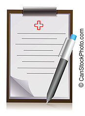 doctor's letter pad with pen