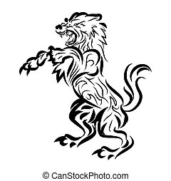 illustration of dog fighting tattoo over isolated white...