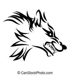 illustration of dog growl tattoo over isolated white...