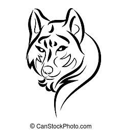 illustration of dog guarding tattoo over isolated white...