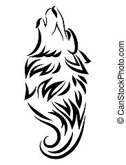 illustration of dog howling tattoo over isolated white...