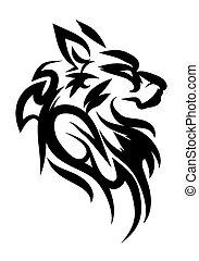 illustration of dog solem tattoo over isolated white...