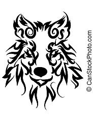 illustration of dog stare tattoo over isolated white...