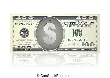 dollar note - illustration of dollar note on white...