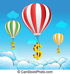 dollar parachute - illustration of dollar parachute in sky