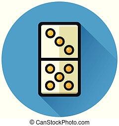 domino circle blue flat icon