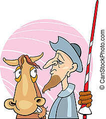 Don Quixote and his horse - Illustration of Don Quixote and...