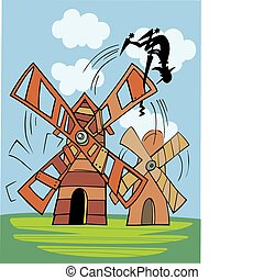 Don Quixote and wind mill - Illustration of Don Quixote and...