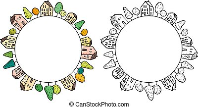 Illustration of doodle houses on circle.