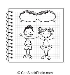 Illustration of doodle kids with speech bubble on notepad