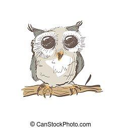Illustration of doodle owl isolated on white background