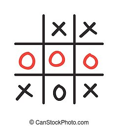 Illustration of doodle tic tac toe game isolated on white...