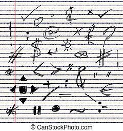Illustration of doodles on a sheet of lined paper