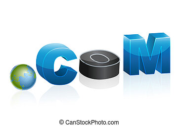 illustration of dot com icon with globe on white background