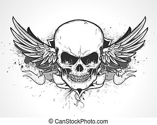 human skull - illustration of double winged human skull with...