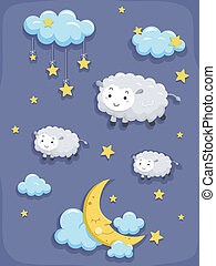 Dreams and Sleep Design Elements - Illustration of Dreams...