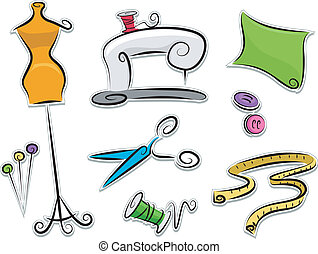 Illustration of Dressmaking Stickers Design Elements