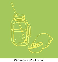 illustration of drinking jar