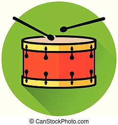drum circle green flat icon
