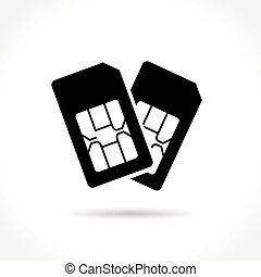 dual sim card icon on white background