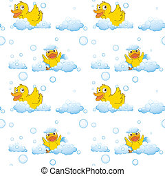 ducks and clouds - illustration of ducks and clouds on a...