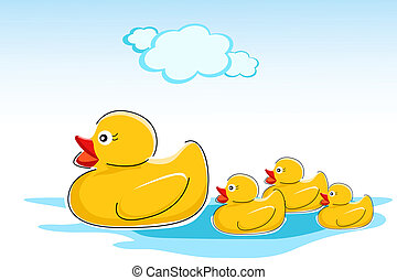 ducks in water - illustration of ducks in water