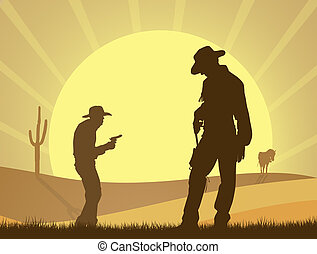duel of cowboy in the desert - illustration of duel of ...