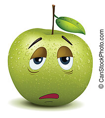 illustration of dull apple smiley on a white