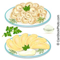 Illustration of dumplings on a plate with dill and herbs