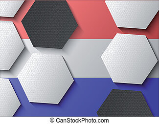 Illustration of Dutch flag with soccer items