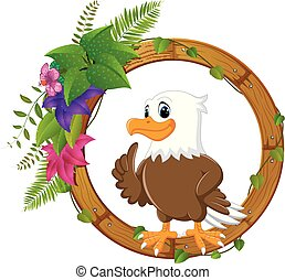 Eagle on round wood frame with flower