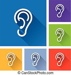 ear icons with long shadow
