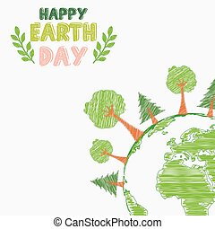 Earth day and the environment - Illustration of Earth day...
