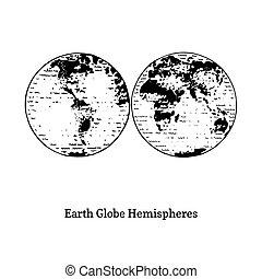 Illustration of Earth globe hemispheres. Drawn sketch in vector.