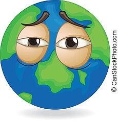 earth globe sleepy face