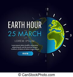 Illustration of Earth hour. 25 march