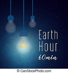 Illustration of Earth hour. 60 min - Illustration of Earth...