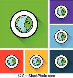 earth icons with long shadow
