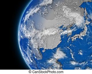 east Asia region on political globe - Illustration of east...