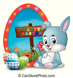 Easter bunny and eggs with frame egg